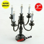 Black Candelabra 5 arms LED Super bright with On/off switch